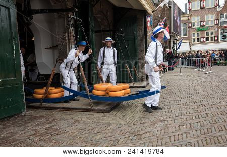 Alkmaar,  Netherlands - April 21, 2017:  Carriers Walking With Many Cheeses In The Famous Dutch Chee