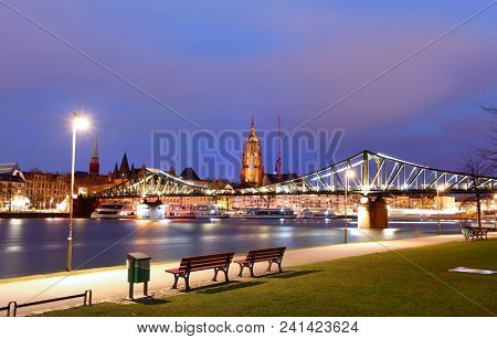 Frankfurt, Germany - 17.March, 2018: River Main in night time at Frankfurt (Main), Germany .