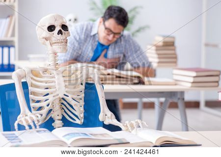 Student skeleton listening to lecture in classroom
