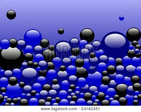 Black and Blue Bubbles rising on a Blue background - Ideal background or backdrop