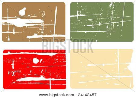 Grunge elements - 4 Transparent Grunge business cards colors can be easily changed