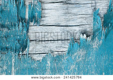 Wooden Wall With Peeling Paint. Paint Peeling Plaster Walls. Old Wooden Painted Rustic Background