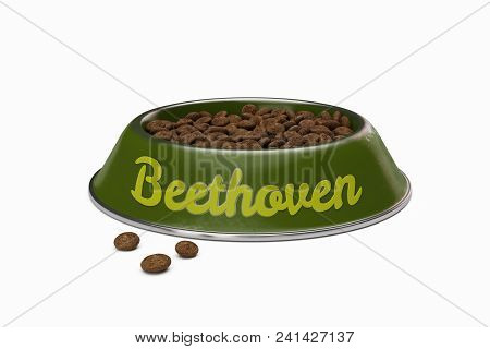 Green Doggy Bowl With Name Beethoven Of Dog Isolated On White