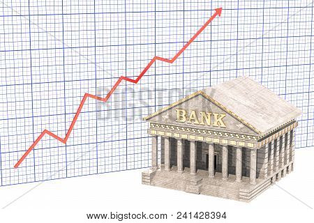 Analytical Banking Concept, Bank Building With Growing Chart. 3d Rendering