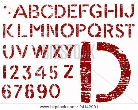 Red Grunge Letters -   36 Individual Vector Letters and Numbers grouped for easy use and coloring