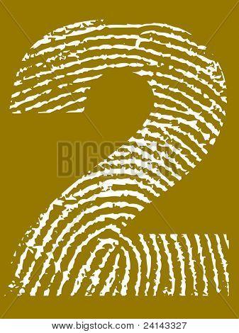 Grunge Fingerprint Alphabet - Number 2 (Highly detailed grunge letter)