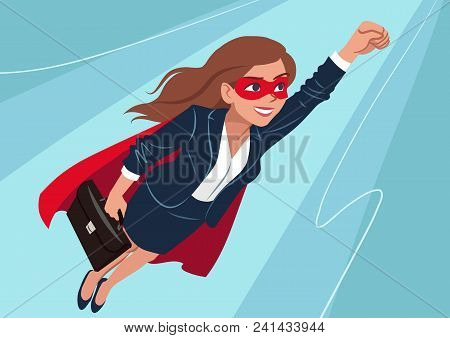 Young Caucasian Superhero Woman Wearing Business Suit And Cape, Flying Through Air In Superhero Pose