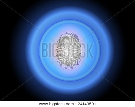 Security Scan - Fingerprint pressing on a biometric scanning device