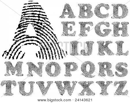 Fingerprint Alphabet (Highly detailed Letter - transparent so can be overlaid onto other graphics)