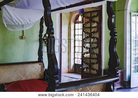 Goa, India - November 16, 2012: Interior Of Bedroom And Old Bed Of The Mistress In Menezes Braganza