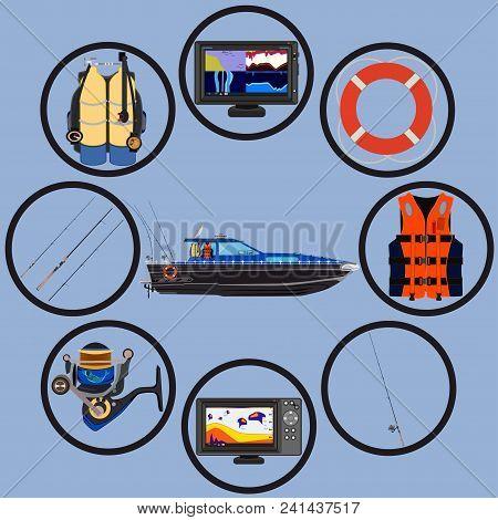 Fishing Icon Set. Vector Flat Isolated Illustration. Fishing Motor Boat, Rod, Spinning Reel, Protect