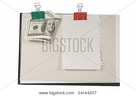 Money and  blank page