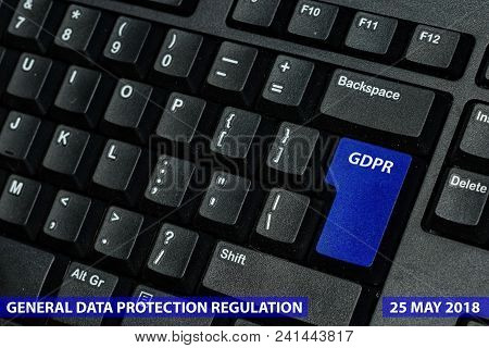 Blue Keyboard Key With Text Gdpr As Symbol For Privacy And General Data Protection Regulation On A N