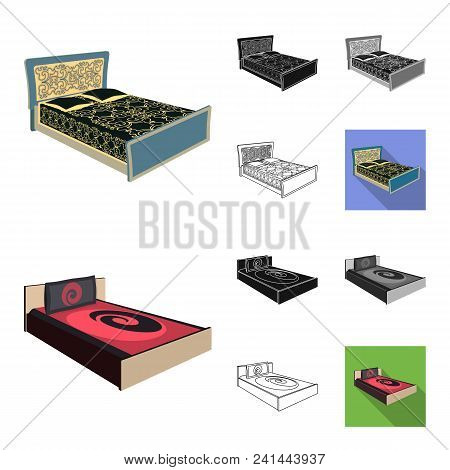 Different Beds Cartoon, Black, Flat, Monochrome, Outline Icons In Set Collection For Design. Furnitu