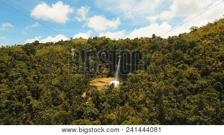 Beautiful Waterfall In Green Forest In Jungle. Aerial View:tropical Rainforest With Waterfall. Water