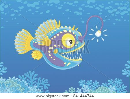 Anglerfish Hunting Deep In A Sea, Vector Illustration In A Cartoon Style