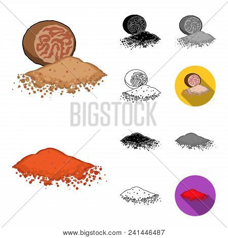 Herb And Spices Cartoon, Black, Flat, Monochrome, Outline Icons In Set Collection For Design.differe