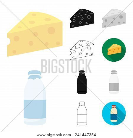 Milk Product Cartoon, Black, Flat, Monochrome, Outline Icons In Set Collection For Design.milk And F