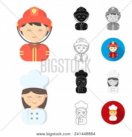 People Of Different Professions Cartoon, Black, Flat, Monochrome, Outline Icons In Set Collection Fo