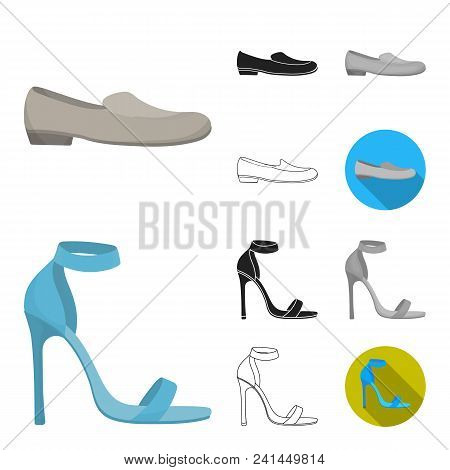 A Variety Of Shoes Cartoon, Black, Flat, Monochrome, Outline Icons In Set Collection For Design. Boo
