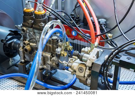 Stand For Checking And Adjusting Injection Pump. Modern Equipment For Car Repair.