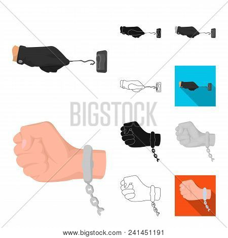 Detective Agency Cartoon, Black, Flat, Monochrome, Outline Icons In Set Collection For Design. Crime