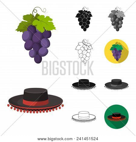 Spain Country Cartoon, Black, Flat, Monochrome, Outline Icons In Set Collection For Design.travel An