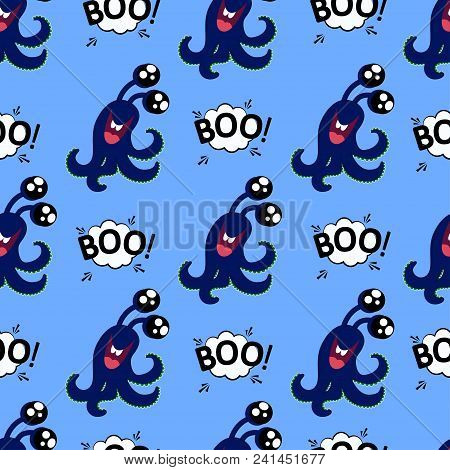 Abstract Seamless Halloween Pattern For Girls Or Boys. Creative Vector Background With Cute Monster