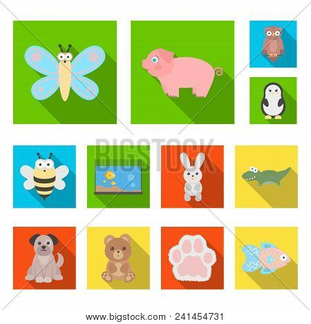 An Unrealistic Flat Animal Icons In Set Collection For Design. Toy Animals Vector Symbol Stock Illus