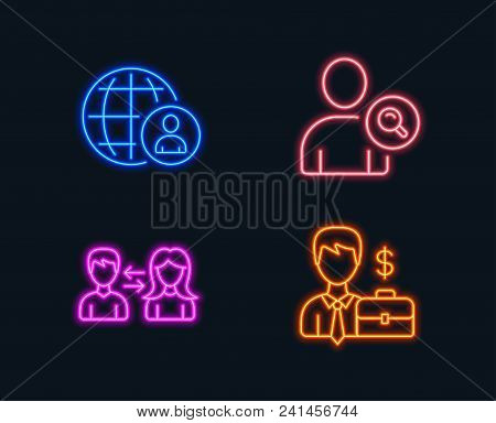 Neon Lights. Set Of International Recruitment, Find User And People Communication Icons. Businessman