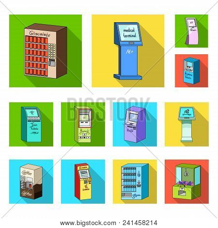 Variety Of Terminals Flat Icons In Set Collection For Design. Atm And Trading Device Vector Symbol S