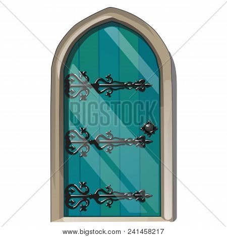 Entrance Door In The Medieval Style. Vector Illustration. Medieval Architecture.