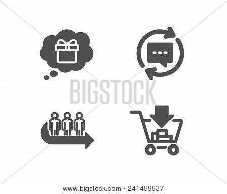Set Of Gift Dream, Queue And Update Comments Icons. Shopping Sign. Receive A Gift, People Waiting, C