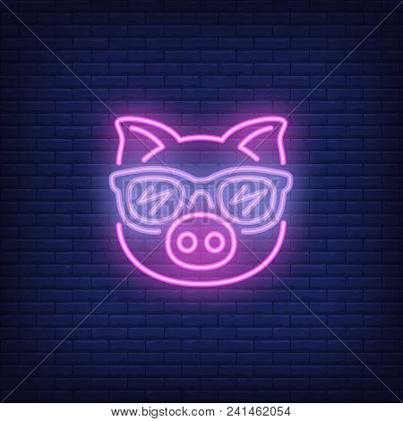 Cute Cartoon Pink Pig In Sunglasses. Neon Sign Element. Night Bright Advertisement. Vector Illustrat