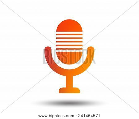 Microphone Icon. Speaker Symbol. Live Music Sign. Blurred Gradient Design Element. Vivid Graphic Fla