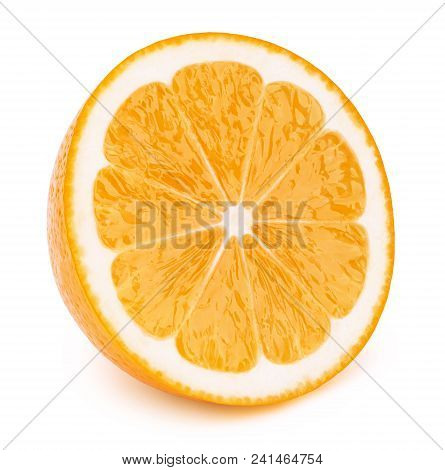 Perfectly Retouched Sliced Half Of Orange Fruit Solated On The White Background With Clipping Path.