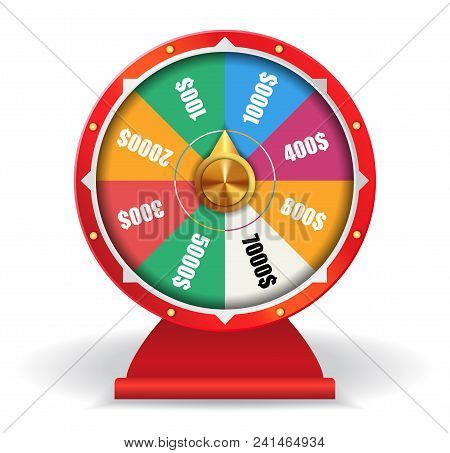 Colorful Wheel Of Luck With Money. Spinning Fortune Wheel, Las Vegas, Prize. Gambling Concept. Can B
