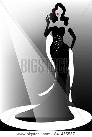Shop Logo Fashion Woman, Beautiful Brunette Silhouette Diva. Company Logo Design, Beautiful Cover Gi