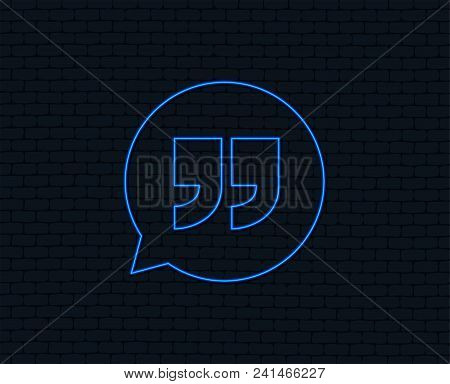 Neon Light. Quote Sign Icon. Quotation Mark In Speech Bubble Symbol. Double Quotes. Glowing Graphic