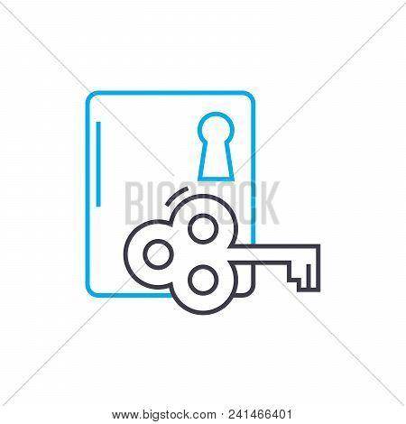 Door Lock Line Icon, Vector Illustration. Door Lock Linear Concept Sign.