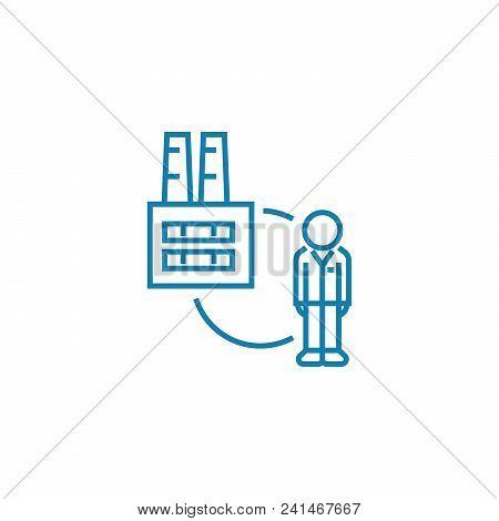 Employee Of An Enterprise Line Icon, Vector Illustration. Employee Of An Enterprise Linear Concept S