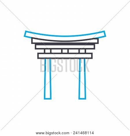 Entrance Arch Line Icon, Vector Illustration. Entrance Arch Linear Concept Sign.