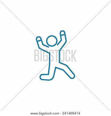 Experiencing Joy Line Icon, Vector Illustration. Experiencing Joy Linear Concept Sign.