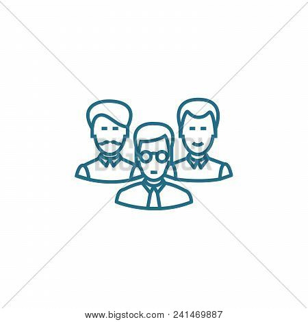 Formation Of A Working Team Line Icon, Vector Illustration. Formation Of A Working Team Linear Conce