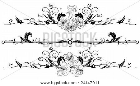 Set Of Floral Background With Hibiscus And Poppy