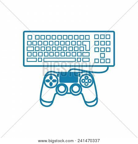 Game Controllers Line Icon, Vector Illustration. Game Controllers Linear Concept Sign.