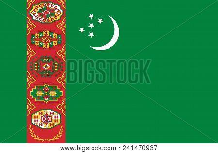 Turkmenistan National Flag. Official Flag Of Turkmenistan, Accurate Colors, True Color