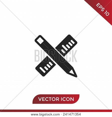 Ruler And Pencil Vector Icon Flat Style Illustration For Web, Mobile, Logo, Application And Graphic