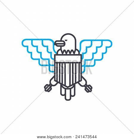 Indian Coat Of Arms Line Icon, Vector Illustration. Indian Coat Of Arms Linear Concept Sign.