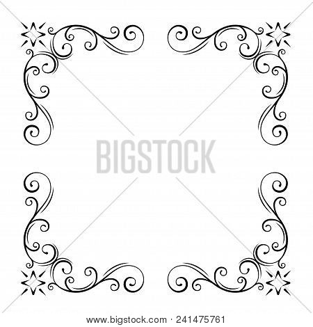 Decorative Filigree Corners, Ornate Borders. Swirl, Scroll Flourish Design Elements. Wedding Invitat